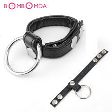Buy Adjustable Leather Cock ring Penis Ring Black Straps scrotum bondage male chastity device Lasting product sex toys men
