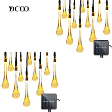 Dcoo 2 Pieces Waterdorp 30 LEDs Solar String Lights 8 Modes Water Drop Led Solar Light Outdoor Party Garden Wedding Decoration(China)