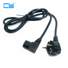 1.5M/5FT C13 IEC Kettle 90 right angle Degree to European 2 pin Round AC EU Plug Power Cable Lead Cord PC 150CM