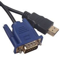Premium Version 6 ft 1.8M Gold HDTV HDMI to VGA Male HD15 Adapter Cable Cord  For PC TV DF Black