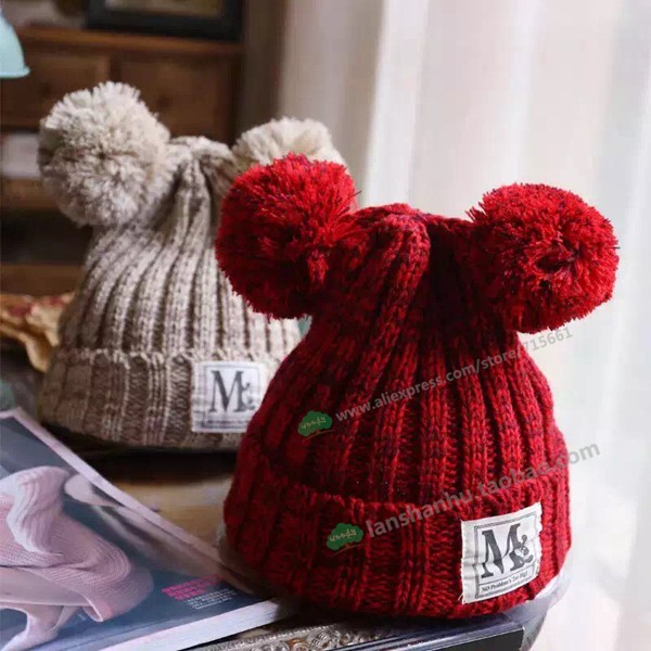 New arrival parent-child Baggy kids Beanie Knit Crochet Hats Mickey ears acrylic beanie lovely cap for women knitting beret hatÎäåæäà è àêñåññóàðû<br><br><br>Aliexpress