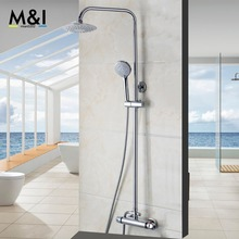 Buy Bathroom Wall Mounted Rain Shower faucets Set Stainless steel top spray ABS Hand Shower Thermostatic Shower Set for $102.70 in AliExpress store
