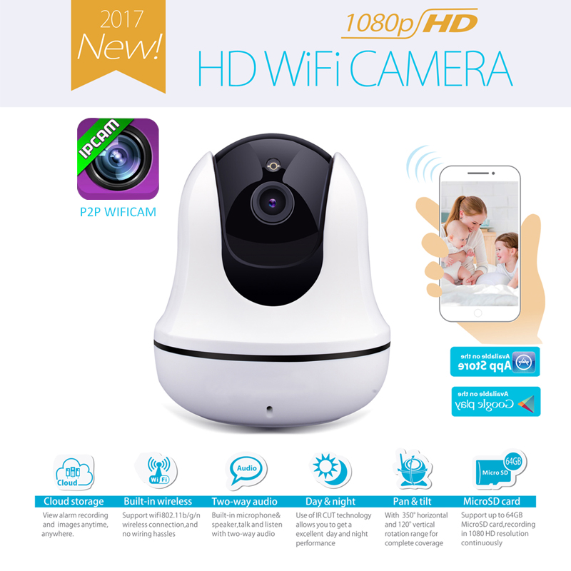 Security 1080P IP Camera 2MP CCTV Wireless Camera Remote Monitoring System Two-ways Audio Talk,Build-in Mic &amp; Speaker<br>