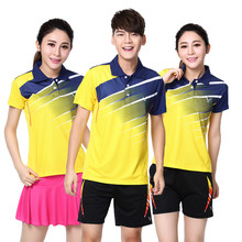 Adsmoney Tennis Suit , Women / Men Quick Dry breathable badminton shirt + Skirts sports POLO T Shirts Shorts(China)