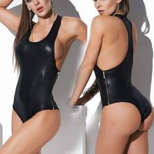 Buy CFYH 2018 New Sexy Black Catwomen Jumpsuit Spandex Sleeve Latex Catsuit Costumes Women BodySuits Fetish Leather Jumpsuit