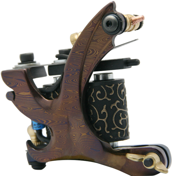 5Pcs/lot Professional Damascus Tattoo Machine 10 Wrap Coils Iron Cast Frame Custom Tattoo Gun For Liner Shader DTM-6012-D4<br>