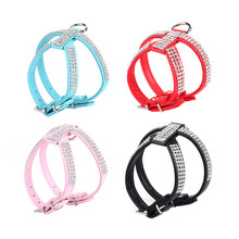 Pet Dog Harness Bling Rhinestone PU Leather Puppy Dog Collars Safety Control Walk Extra XS-L Size Dog Collars 4 Colors(China)
