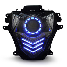 KT Headlight for Suzuki GSXR750 GSX-R750 2011-2017 LED Blue DRL Motorcycle HID Projector Assembly 2012 2013 2014 2015 2016(China)