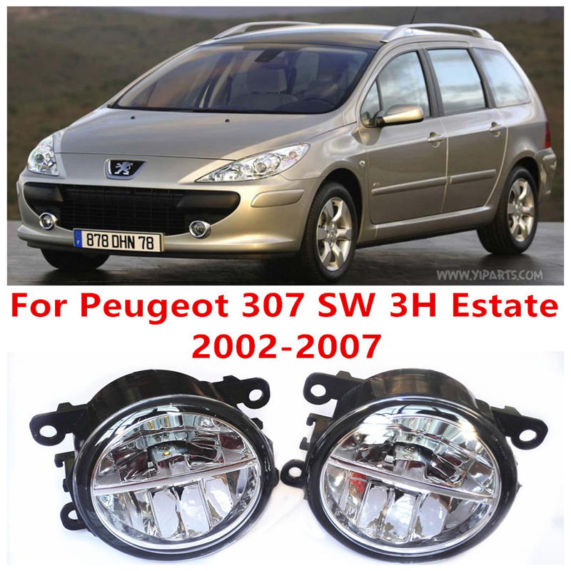 For Peugeot 307 SW 3H Estate  2002-2007 10W Fog Light LED DRL Daytime Running Lights Car Styling lamps<br>