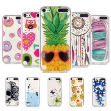 Fashion Ultra Thin Soft TPU Gel Silicon Transparent Macarons Maple Leaf pattern Phone Cover For Apple iPod Touch 5 Touch 6 Case