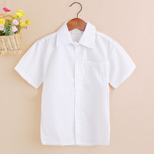 4-12 Y 2017 New Arrival Summer Short Sleeve Baby Clothes White School Boys Shirts Turn-down Collar Boy Shirt Kids Tops JW0190