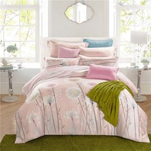 Countryside rural Dandelion pink 100% natural Tencel silk 4pcs princess bedding set duvet cover bed sheet pillowcase set/3594