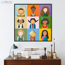 Modern World Children Print Poster Color Chinese India Africa Kids Wall Art Picture Baby Room Decor Canvas Oil Painting No Frame(China)