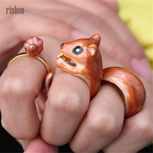 3Pcs/Set New Arrival Adjustable Cute Squirrel ring Tiny Animal Squirrel Enamel Ring Women Jewelry Anillos Bijoux