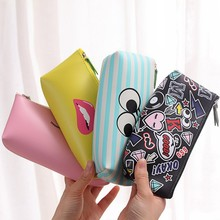 Cute Modern girls school pencil case for girl Kawaii PU leather Lip Dot pen bag stationery pouch school office supply escolar