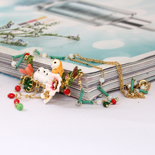 France Romantic Ornaments Enamel Snowy Owl Baby Crystal Tassels Necklace Copper Alloy Gold Really Plated Women Jewelry(China)