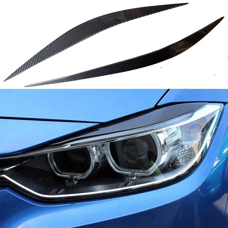 F32 F36 F82 Carbon Fiber Car Headlight Eyelid Eyebrows Cover trim Sticker for BMW F32 F36 F82 2014-2016 Free shipping<br>
