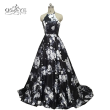 2017 New 3D Floral Flower Pattern Print Prom Dresses Robe de Soiree Sexy Open Sweep Train Formal Evening Party Gown Real Photo