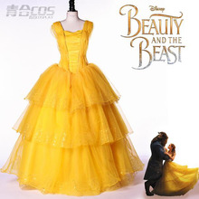 Yellow Belle Dress Form Movie Beauty and the Beast Cosplay Costume Custom Made For Party Birthday Costumes