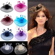 Top Quality Birdcage Veil Hat Female Womens Party Hats Top Hats Yarn Feathers Clips Caps For Party Wedding Hari Accessories(China)