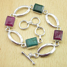 Silver Overlay Beautiful Red rubi & Green Emeralds 2 Color STYLE Bracelet 8""