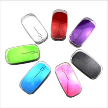 Ultra Thin USB Optical Wireless Mouse 2.4G Receiver Super Slim Mouse For Computer PC Laptop Desktop red Candy color
