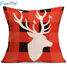 Ouneed Hot selling Christmas Vintage deer pattern Square Zipper Closure Linen blend Pillow Case chelsea soccer jersey(China)