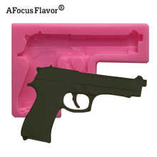 1Pcs 3D Pistol Gun Toy fondant Chocolate cake Cupcake soap clay Silicone Mold Cooking baking handmade DIY gift decoration tools(China)
