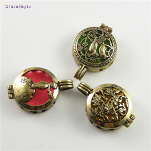 GraceAngie 1PC Antique Bronze Birds Flower Cage Locket Perfume Essential Oil Diffuser Handmade Jewelry Pendant Charms Findings