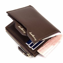 2016 brand baellerry men's leather wallets Bifold Wallet ID Card holder Coin Purse Pockets Clutch with zipper Coin Bag