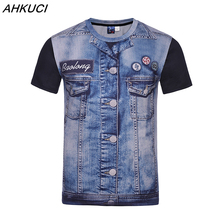 AHKUCI 2017 New Men 3D Print T shirt Casual Fake Demin T-shirt Tattoo Jeans tops Brand Cotton Clothing Tshirt M-4XL puls size(China)