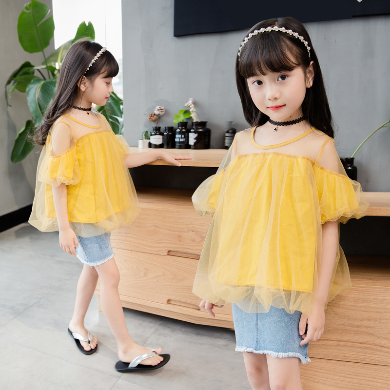 Chidren Letong 2017 summer girls set short denim pants and Lantern Sleeve top blouse two piece suit 3t- 11t free shipping<br>