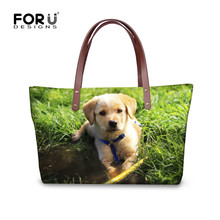 FORUDESIGNS Brand Designer Women Top-handle Bags Lovely 3D Puppy Dog Printed Tote Cross Body Bags Messenger Bag Bolsas Feminina(China)