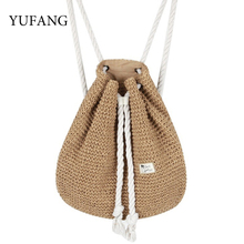 YUFANG Women Straw Backpack Bucket Sack Package Summer Beach Bag Travel Holiday Drawstring Daypack For Girls Female Bolsa(China)
