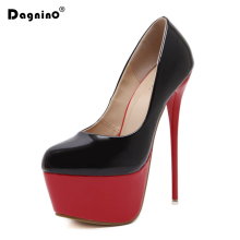 DAGNINO Spring Autumn Woman Sexy Pumps Extreme 15.5CM High Heels Designer Shoes Platform Pumps Stiletto Female Valentine Shoes(China)