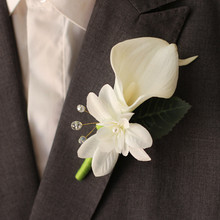 2pces/lot wedding men boutonniere,teal calla lily with ribbon crystal,real touch boutonniere for groom bestmen