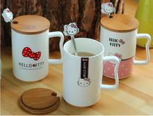 Kawaii Cartoon 440ML Hello Kitty Ceramic Coffee Mug Cup With Wood Lid And Spoon