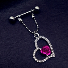 1 Pair Sexy Unisex Women heart with rose flower Body Nipple Bar Barbell Piercing Ring Nice Jewelry(China)