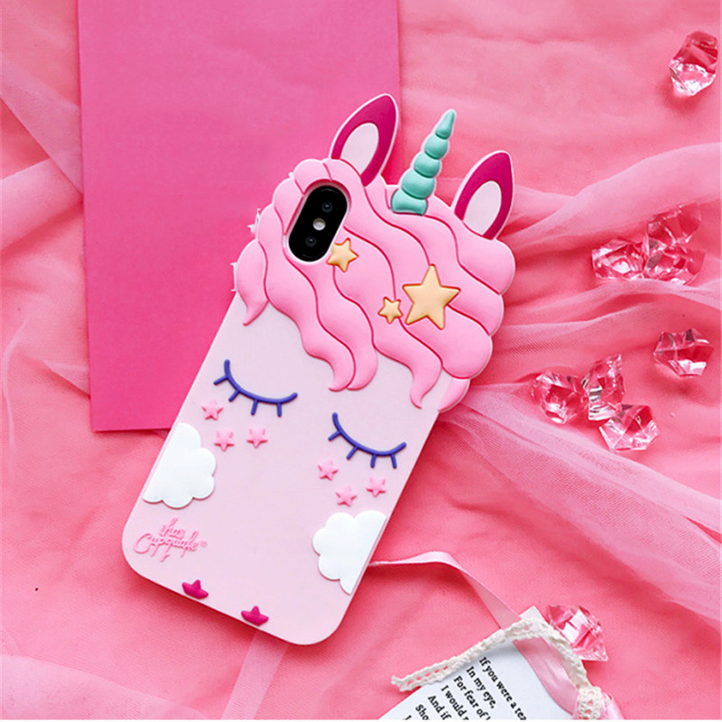 3D Cartoon Soft Silicone Phone Case For iPhone 5 S SE 6 6S 7 8 Plus X XR XS Max Case for iphone 7 Pink Unicorn Animal Back Cover (1)
