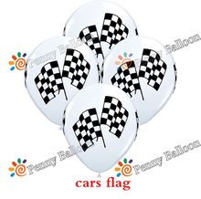 Wholesale 12pcs/lot Racing Flag Latex Balloon Party Balloons Checkered Balloon Car Race Line Toys For Kids(China)
