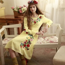 LYNETTE'S CHINOISERIE Autumn Spring Original Design Women Hungary Princess Mori Grils Yellow Embroidered Dress