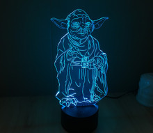 7 Colors Master Yoda bb 8 Jedi Star Wars Millennium Falcon Model Action Figures Darth Vader Mask 3D Table Lamp Led Toys(China)