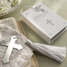 30pcs/lot Boxed Blessings Silver Bible Cross Metal Bookmark Baby Shower Souvenirs Communion Wedding Favors and Gifts