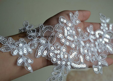 10 Pieces/5 Pairs 27*11cm Bling Sequin Embroidered Bridal Dress Wedding Decorative Sewing Lace Applique Trim Craft