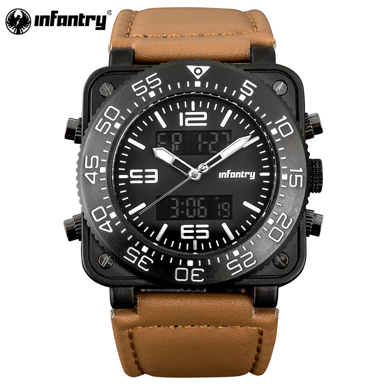 INFANTRY Mens Watches Top Brand Luxury Military Sports Chronograph Luminous Wristwatch Leather Quartz Watch relogio masculino<br>