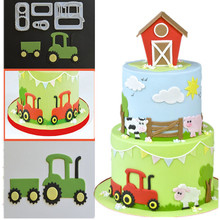 4PCS Tractor Shaped Plastic Cake Mold Kitchen Baking Mold Sugar Craft Fondant Cake Cutting Tools Cake Decoration Mold(China)