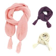 Children Wild Wheat Knitted Wool Scarf Solid Color Casual Warm Scarves Winter Spring Scarf For Kids Girl Boy A0