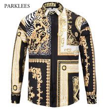 Buy Luxury Brand Men Shirt Long Sleeve Chemise Homme 2017 Fashion Print Mens Slim Fit Dress Shirts Casual Baroque Style Shirt Men for $18.79 in AliExpress store