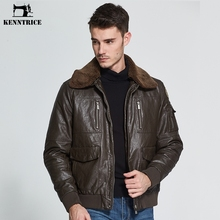KENNTRICE Leather Jacket Men Brand Men's Pilot Leather Jackets Winter Coat Faux Sheepskin Bomber Jacket Faux Fur Collar Coats(China)