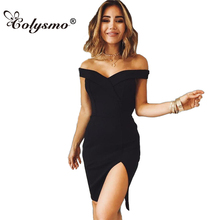 Buy Colysmo Shoulder Fork Solid Color Sexy Dress Sleeveless Slim High Waist Mini Summer Dresses Women Party Dress Vestidos New for $13.50 in AliExpress store